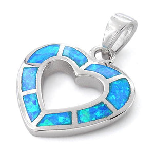 Sterling Silver Lab Opal Hollow Heart Pendant