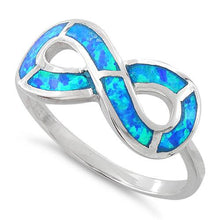 Load image into Gallery viewer, Sterling Silver Lab Opal Infinity Ring