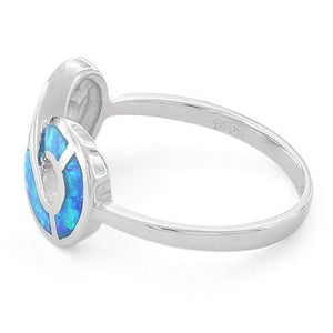 Sterling Silver Lab Opal Infinity Ring