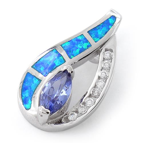 Sterling Silver Blue Lab Opal & Tanzanite Marquise CZ Pendant