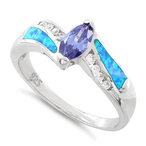 Sterling Silver Lab Opal Marquise Tanzanite CZ Ring