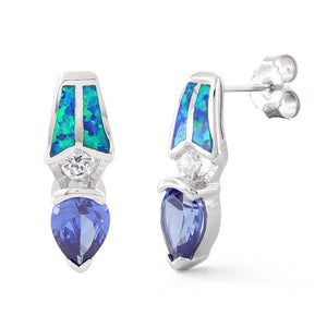 Sterling Silver Lab Opal Pear Tanzanite CZ Earrings