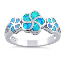 Load image into Gallery viewer, Sterling Silver Lab Opal Plumeria Ring