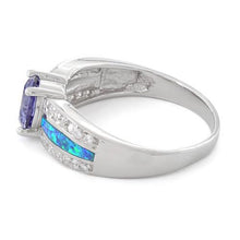 Load image into Gallery viewer, Sterling Silver Lab Opal Round Tanzanite CZ Ring
