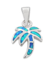 Load image into Gallery viewer, Sterling Silver Lab Opal Small Coconut Tree Pendant