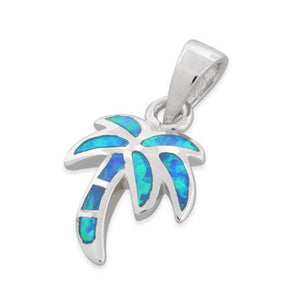 Sterling Silver Lab Opal Small Coconut Palm Tree Pendant