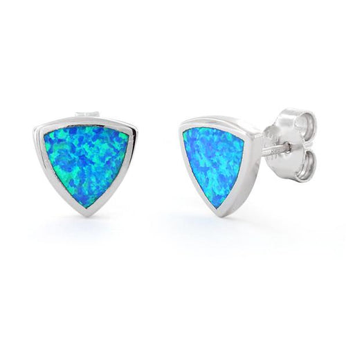 Sterling Silver Lab Opal Trillion Earrings