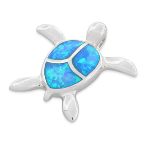 Sterling Silver Lab Opal Turtle Pendant