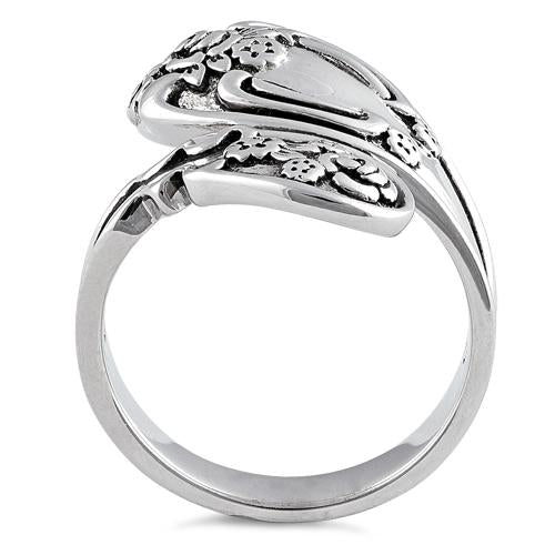 Sterling Silver Flower Blossoms Spoon Ring