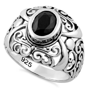 Sterling Silver Oriental Bali Black CZ Ring