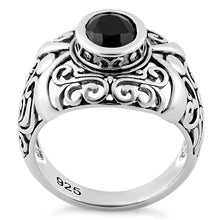 Load image into Gallery viewer, Sterling Silver Oriental Bali Black CZ Ring
