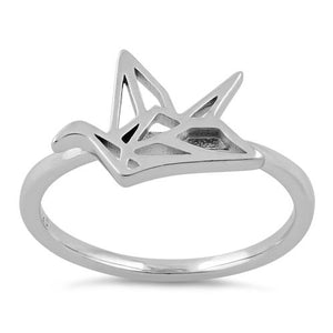 Sterling Silver Origami Flying Bird Ring