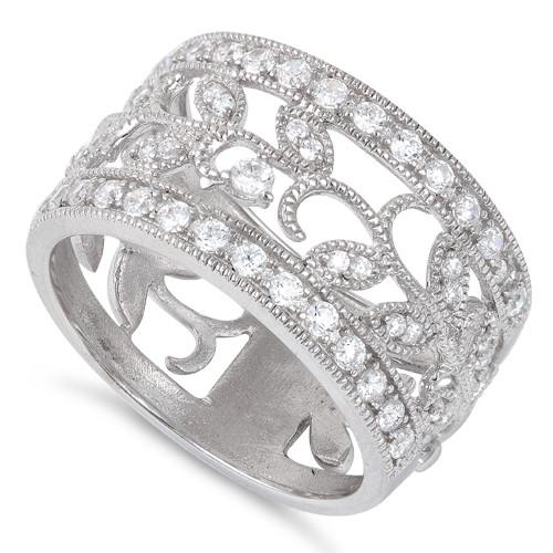542268b03 Sterling Silver Ornaments Leaves CZ Ring