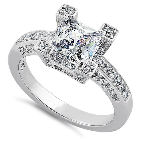 Sterling Silver Ornate Princess Cut Clear CZ Ring