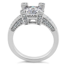 Load image into Gallery viewer, Sterling Silver Ornate Princess Cut Clear CZ Ring