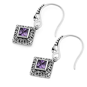 Sterling Silver Ornate Square Cut Amethyst CZ Earrings