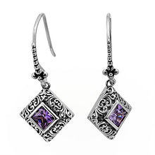 Load image into Gallery viewer, Sterling Silver Ornate Square Cut Amethyst CZ Earrings