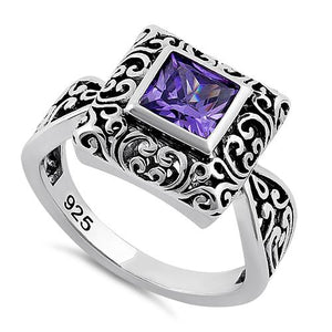 Sterling Silver Ornate Square Cut Amethyst CZ Ring