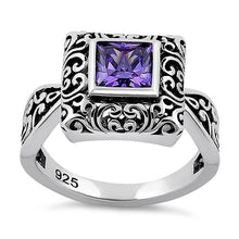 Load image into Gallery viewer, Sterling Silver Ornate Square Cut Amethyst CZ Ring