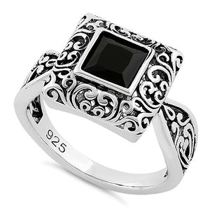 Sterling Silver Ornate Square Cut Black CZ Ring
