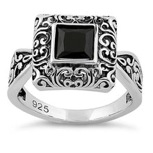 Load image into Gallery viewer, Sterling Silver Ornate Square Cut Black CZ Ring