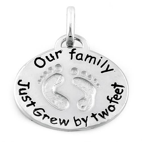 "Sterling Silver ""Our Family Just Grew by Two Feet"" Charm Pendant"