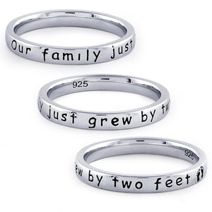 "Sterling Silver ""Our Family Just Grew By Two Feet"" Ring"
