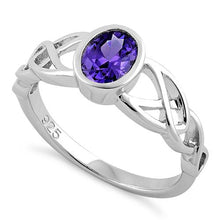 Load image into Gallery viewer, Sterling Silver Oval Amethyst CZ Celtic Ring