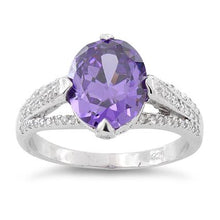 Load image into Gallery viewer, Sterling Silver Oval Amethyst CZ Ring