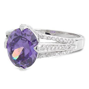 Sterling Silver Oval Amethyst CZ Ring