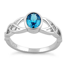 Load image into Gallery viewer, Sterling Silver Oval Aqua Blue CZ Celtic Ring