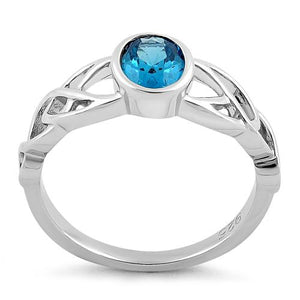 Sterling Silver Oval Aqua Blue CZ Celtic Ring