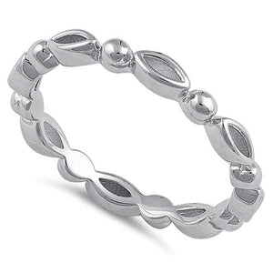 Sterling Silver Oval & Bead Band