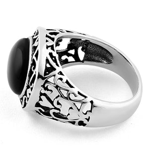 Sterling Silver Oval Black Onyx Celtic Ring