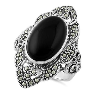 Sterling Silver Oval Black Onyx Heart Marcasite Ring