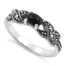Load image into Gallery viewer, Sterling Silver Oval Black Onyx Marcasite Ring