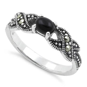 Sterling Silver Oval Black Onyx Marcasite Ring