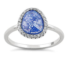 Load image into Gallery viewer, Sterling Silver Offset Oval Blue Galaxy CZ Ring