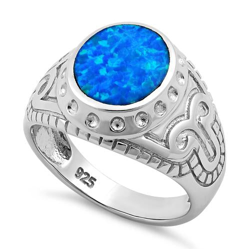 Sterling Silver Oval Blue Lab Opal Ring