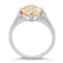 Load image into Gallery viewer, Sterling Silver Oval Champagne CZ Ring