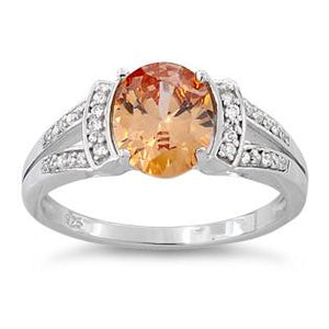Sterling Silver Oval Orange CZ Ring