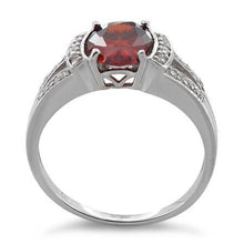 Load image into Gallery viewer, Sterling Silver Oval Garnet CZ Ring