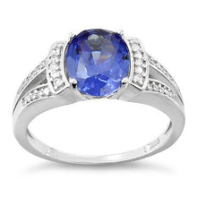 Load image into Gallery viewer, Sterling Silver Oval Channel Tanzanite CZ Ring