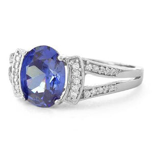 Sterling Silver Oval Channel Tanzanite CZ Ring