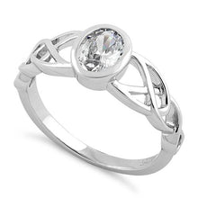 Load image into Gallery viewer, Sterling Silver Oval Clear CZ Celtic Ring