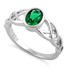 Load image into Gallery viewer, Sterling Silver Oval Green CZ Celtic Ring