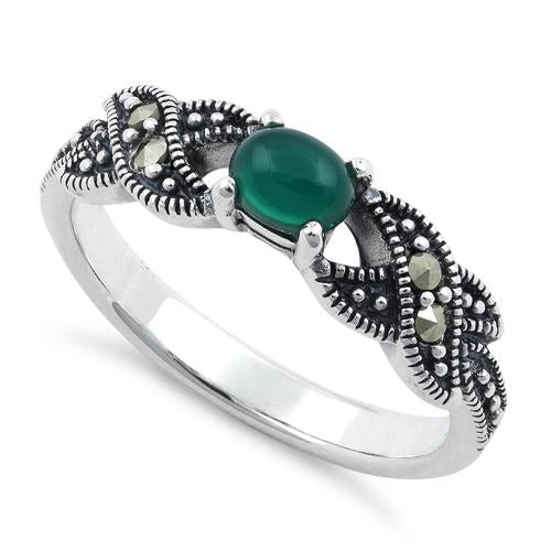 Sterling Silver Oval Green Agate Marcasite Ring