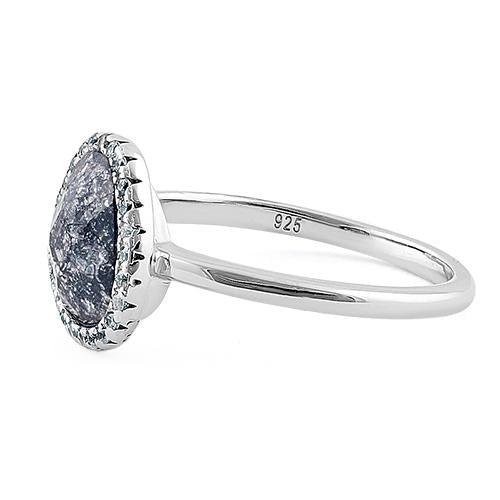 Sterling Silver Offset Oval Grey Galaxy CZ Ring
