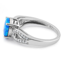 Load image into Gallery viewer, Sterling Silver Oval Lab Opal CZ Ring