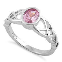 Load image into Gallery viewer, Sterling Silver Oval Pink CZ Celtic Ring